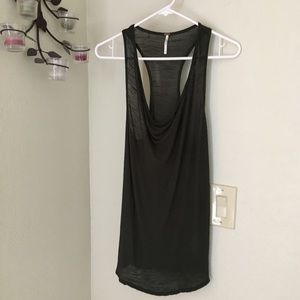 Free People razor back semi sheer tank top SP